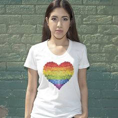Women's Rainbow Heart Pride T-Shirt Rainbow Heart, Love Clothing, Peace And Love, Pride, T Shirts For Women, Stylish, Tees, How To Make, Cotton