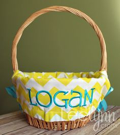 Personalized Easter Basket Liner  Yellow Chevron by LeelynnCrafts, $26.00