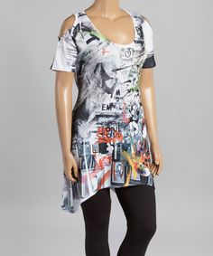 This White & Black Abstract Cutout Tunic - Women & Plus by Citi Life is perfect! #zulilyfinds