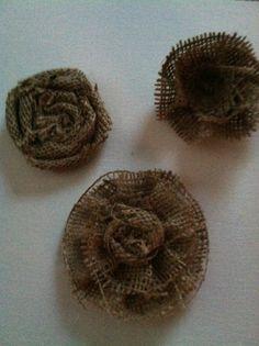 Set of Three Different Tan Burlap Flowers, $8.00
