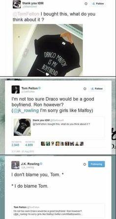 Harry Potter Tom Felton J. Rowling Draco malfoy is my boyfriend t-shirt I do blame tom Funny Harry Potter Shirts, Mundo Harry Potter, Harry Potter Cast, Harry Potter Universal, Harry Potter Fandom, Tom Felton, Drarry, Dramione, Fandoms