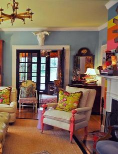 House of Fifty Fall 2012 (idk what that means) but I love the blue walls & yellow ceiling!