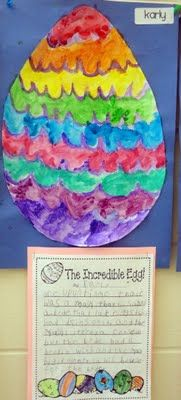 Read the Easter Egg by Jan Brett, then students write their own story and create and egg to go with their story!