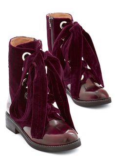 Jeffrey Campbell Velvet Wonder-Bound Boot in Burgundy. Blaze a magnificently stylish trail in these crimson boots from Jeffrey Campbell. #red #modcloth