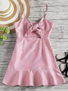 Gamiss Striped Cut Out Bow Tie Open Back Cami Dress 2018 Summer Women Beach Vacation Dress A Line Slip Sleeveless Mini Dress Red Fashion, Boho Fashion, Girl Fashion, Fashion Outfits, 2000s Fashion, Cheap Fashion, Modest Fashion, Korean Fashion, Vintage Fashion