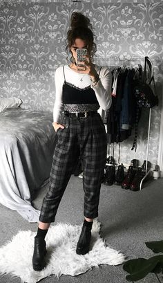 Long sleeve white top with black bralette, plaid pants & boots by sophie.seddon