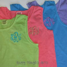 Monogrammed Tanks - available at www.facebook.com/fromtheheartcullman