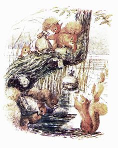 Beatrix Potter - The Tale of Squirrel Nutkin - 1903 - Squirrels Fill Sacks with Nuts