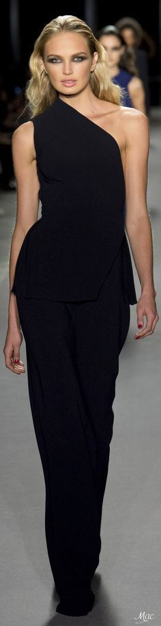 @roressclothes clothing ideas #women fashion black maxi oneshoulder dress Fall 2017 Brandon Maxwell