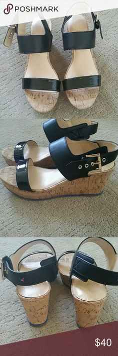 Tommy Hilfiger platform wedges Lightweight and very comfortable!!! Tommy Hilfiger emblem on the back strap. New without tags.  Wedge height 3 inches and platform 1 inch Tommy Hilfiger Shoes Wedges