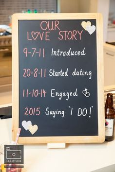 Simple details such as blackboards with a timeline of your love story add a great detail to your wedding or engagement function - modern Indian wedding - DIY engagement party decor - fun engagement party ideas #thecrimsonbride #SimpleWeddingIdeas