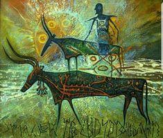 Beautiful painting by artist shaman Alexey L. Spirited Art, Encaustic Painting, Chalk Pastels, Wood Engraving, Sacred Art, Magical Creatures, Linocut Prints, Ancient Art, Rock Art