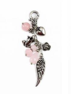 Damen Charm Anhänger mit Flügeln, rosa von Fashion Jewelry bei www.meinkleidchen.de