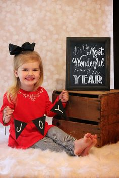 It's the most wonderful time of the year chalkboard print joy banner 2 year old toddler Christmas shoot. Toddler Christmas Pictures, Toddler Pictures, Xmas Photos, Xmas Pictures, Family Pictures, Christmas Minis, Christmas Baby, Christmas Cover, Christmas Mini Sessions