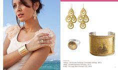 earrings, rings, and bracelets modeled