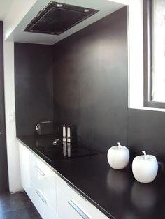 Plan de travail de cuisine en granit noir zimbabwe en lot central cuisine - Plan de travail noir mat ...
