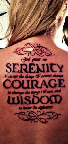 Discover the meaning behind the prayer for serenity. Read all versions of the Serenity Prayer and its History. God grant me the serenity to accept the things I . Bild Tattoos, Love Tattoos, Picture Tattoos, Body Art Tattoos, Tatoos, Amazing Tattoos, Gebets Tattoo, Piercing Tattoo, Back Tattoo