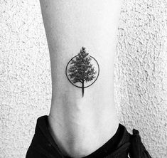 Mens Circle With Tree Small Lower Leg Tattoo