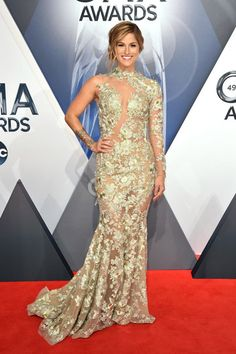 Cassadee Pope is a vision in lace at the 49th annual CMA Awards on Nov. 4, 2015, in Nashville.