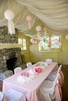Girls Birthday Party Playhouse, via Flickr. Love the idea of no real specific theme just everything pretty & girly!