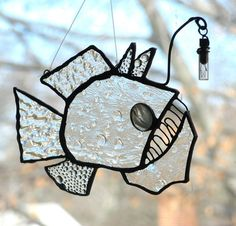Stained Glass Fish Sun-Catcher Ornament Cave Angler Fish by trilobiteglassworks (Etsy)