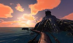 Catherine's Prison Island at sunset...someone must have tweaked this -- the game never showed this location at sunset.