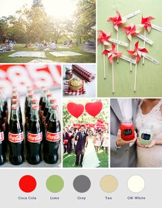 Picnic Wedding- I like both the color scheme and the old fashioned Coca-Cola bottles. Picnic Theme, Picnic Style, Wedding Events, Wedding Reception, Wedding Picnic, Picnic Weddings, Yard Wedding, Rustic Weddings, Summer Wedding