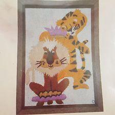 Vintage Sealed Lion & Tiger Crewel Embroidery Kit His Royal Highness 1981 Jungle