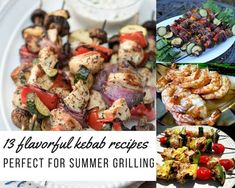 Summertime is shish kebab time! Kebabs (also known as kabobs) originated in the Middle East. They consist of grilled meat or seafood and vegetables threaded on a stick. Fun to eat, combinations are unlimited. Whether you call them kebab's or kabob's, they Grilled Fish Recipes, Pork Rib Recipes, Kabob Recipes, Grilled Meat, Easy Chicken Recipes, Grilling Recipes, Grilling Tips, Shish Kebab, Kebabs