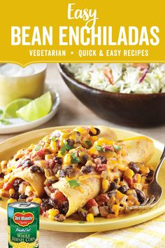 Meatless and oh so delicious. Our Easy Bean Enchiladas recipe with Del Monte® Whole Kernel Corn and Del Monte® Petite Cut Diced Tomatoes is a quick, vegetarian weeknight dish the whole family will enjoy. Veggie Recipes, Mexican Food Recipes, Crockpot Recipes, Vegetarian Recipes, Cooking Recipes, Healthy Recipes, Fast Recipes, Healthy Food, Dinner Recipes