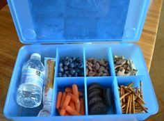 Store road trip snacks in a tackle box or container with dividers