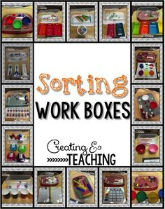 What's in my Work Boxes. Another great post with lots of pictures of new task boxes to set up for your special needs students to practice sorting all types of objects in all types of ways. Perfect for younger AND older students. Get some great ideas at: creatingandteachi...
