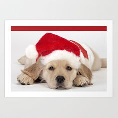 Christmas Puppy Art Print by things collectable plus - $12.48