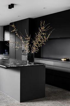 Kitchen Room Design, Modern Kitchen Design, Interior Design Kitchen, Kitchen Designs, Diy Interior, Interior Modern, Kitchen Ideas, Black Kitchens, Black And Grey Kitchen