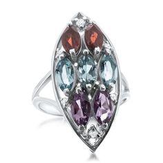 875 Silver Ring with Amethyst, Garnet, Blue Topaz