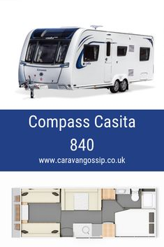 The Compass Casita 840 is a 6 berth 8 foot wide caravan with a corner bathroom, fixed double bed at the rear and double side dinette. 6 Berth Caravan, Caravan Reviews, Double Beds, Motorhome, Compass, Gossip, Recreational Vehicles, Dream Cars, Twins