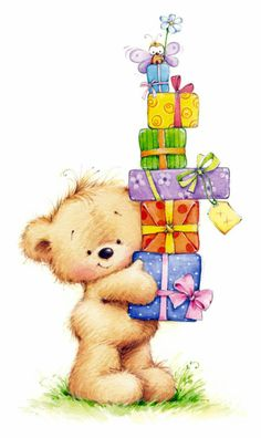 Happy Birthday bear w/presents