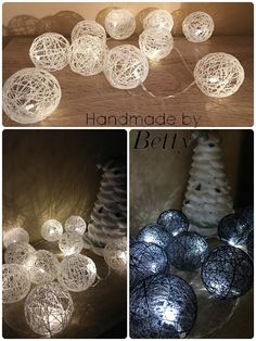 Cotton ball's #handmade #light #white #blue #cottonball's #christmasdecoration #christmastime #decoration #cotton