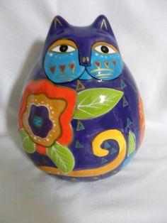 Laurel Burch Cat Purple Ceramic Whimsical Floral Fat Cat Savings Bank
