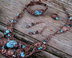 """Hand-Formed Artwear Set    Materials: Real Turquiose & Swarovski Crystals """"Entwined"""" with Copper."""