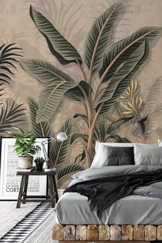 Palm Wallpaper, Tropical Wallpaper, Attractive Wallpapers, Seaweed, Vintage Looks, Your Space, Earthy, Trees, Banana