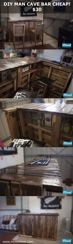 DIY Pallet Bar on the Cheap for the Man Cave cost $30