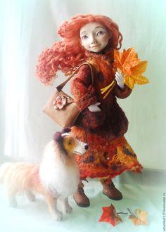 """Купить Авторская кукла """"Осенняя прогулка"""" - рыжий, hand-made, рыжая девочка, осень"""
