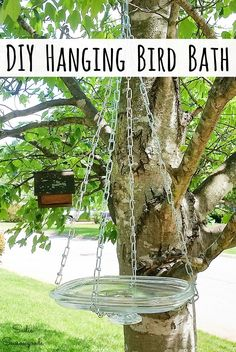 A casserole dish lid from the thrift store is ideal for upcycling into a bird bath bowl for a hanging bird bath with a pot lid holder made from chain. Hanging Bird Bath, Diy Bird Bath, Diy Hanging, Homemade Bird Baths, Bird Bath Bowl, Best Bird Feeders, Windmill Decor, Unique Gardens, Small Gardens