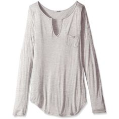 LAmade Women's Long Sleeve Open Henley Tee ($23) ❤ liked on Polyvore featuring tops, t-shirts, shirts, long sleeves, shirts/tops, henley t shirts, long-sleeve shirt, v neck pocket tee, long sleeve v neck t shirts and v neck t shirts