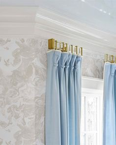 Top Ten Favorite Ways to Add Brass to Your Home - Design Chic Blue Drapes, Drapes Curtains, Luxury Curtains, Drapery Rods, Home Design, Interior Design, Design Design, Window Coverings, Window Treatments
