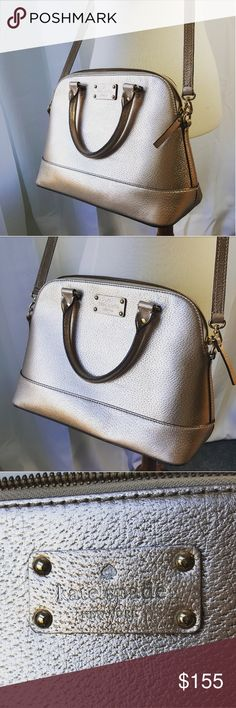 ♠️ rose gold kate spade purse ♠️ Stunning kate spade Cameron Lottie rose gold purse.  This purse is absolutely beautiful!  This can be worn on your arm or as a crossbody.  The exterior is in close to perfect condition!  There are a few pen marks inside with slight wear.  Thanks for shopping my closet!!!  xoxo,  fab_bella kate spade Bags