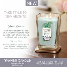 Elevation Collection with Platform Lid EXCLUSIVELY ONLINE NEW - Shore Breeze Shop online: www.yankeecandlesa.co.za Gift-it: www.yankeecandlesa.co.za/product/general-gift-box #ShoreBreeze #yankeecandle #yankeecandlesa #yankeecandlesouthafrica #elevationcandles #elevation #takestyletonewheights #elevationcollection The Dunes, Coconut Water, Breeze, Shot Glass, Fragrance, Candles, Tableware, Gifts, Lily Of The Valley