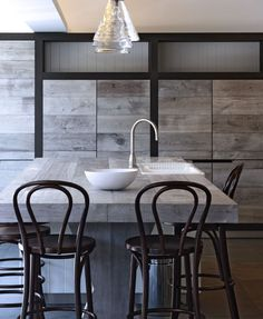 Pale Grey French Oak timber floorboards have been used to build this island bench and kitchen cabinets. Designed by Lee Harper Design.  www.royaloakfloors.com.au