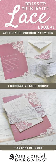Dress up your wedding invitation with lace accents. Look One: create a lace belly band in a snap!